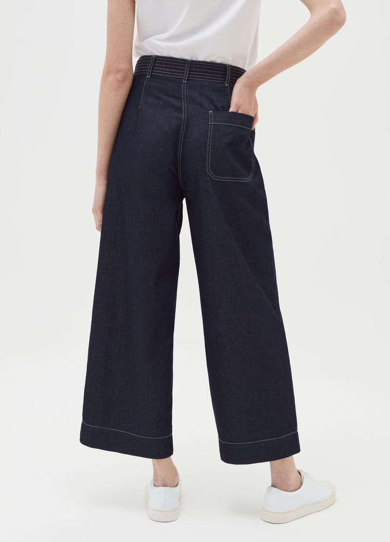 Wide-leg jeans with belt image number null