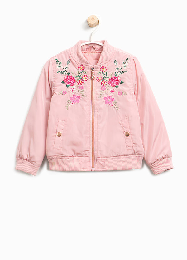 Bomber jacket with patch and floral embroidery | OVS