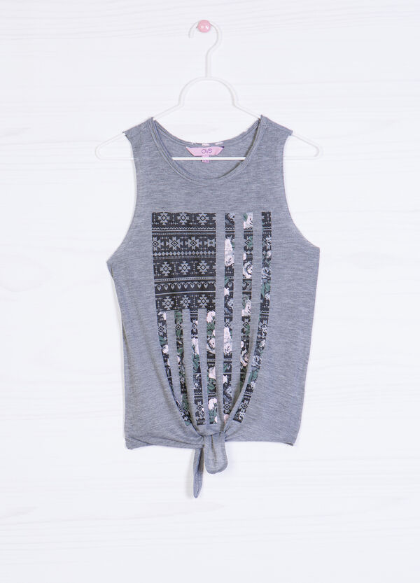 Printed cotton blend top