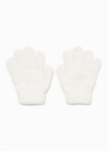 Stretch gloves in faux fur