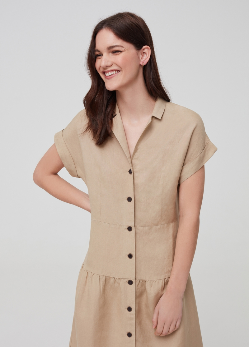 Solid colour dress in linen and viscose image number null