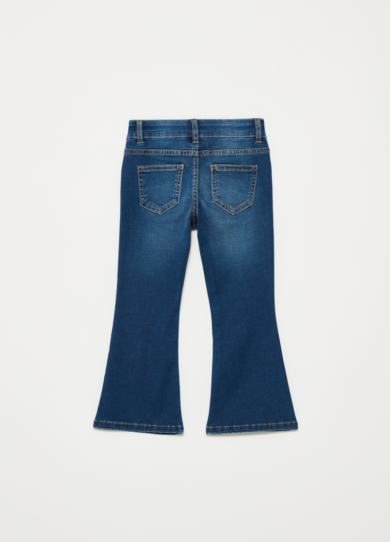 Five-pocket flared jeans with buttons image number null