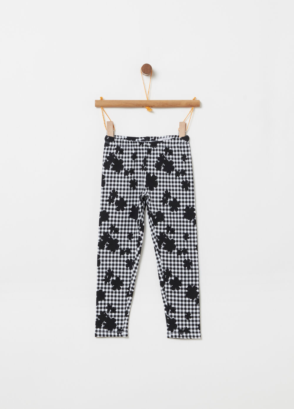 Lightweight fleece leggings with Vichy flowers pattern
