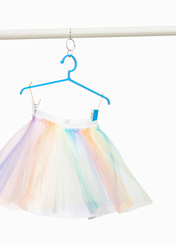 Tulle skirt with rainbow pattern