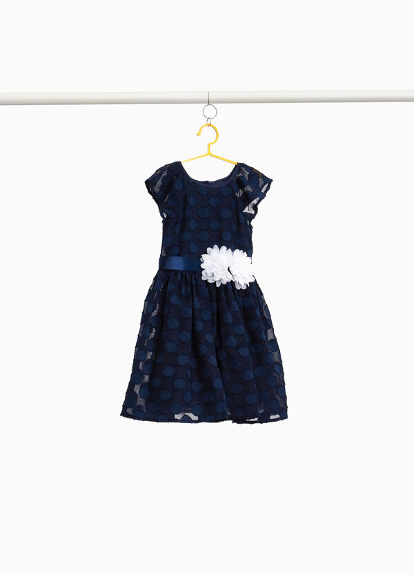 Dress with polka dot weave and flowers