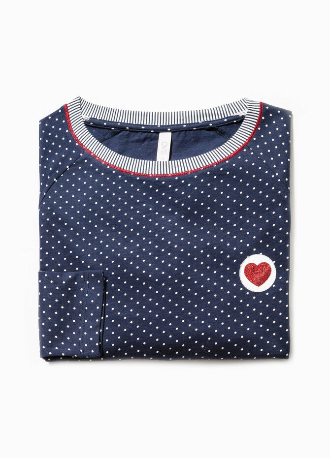 Striped and polka dot pyjama top in 100% cotton