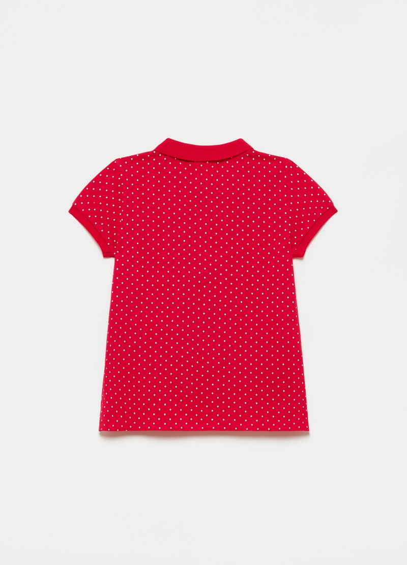 Polo shirt in polka dot piquet cotton image number null