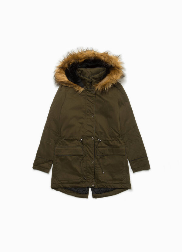 Stretch cotton parka with faux fur