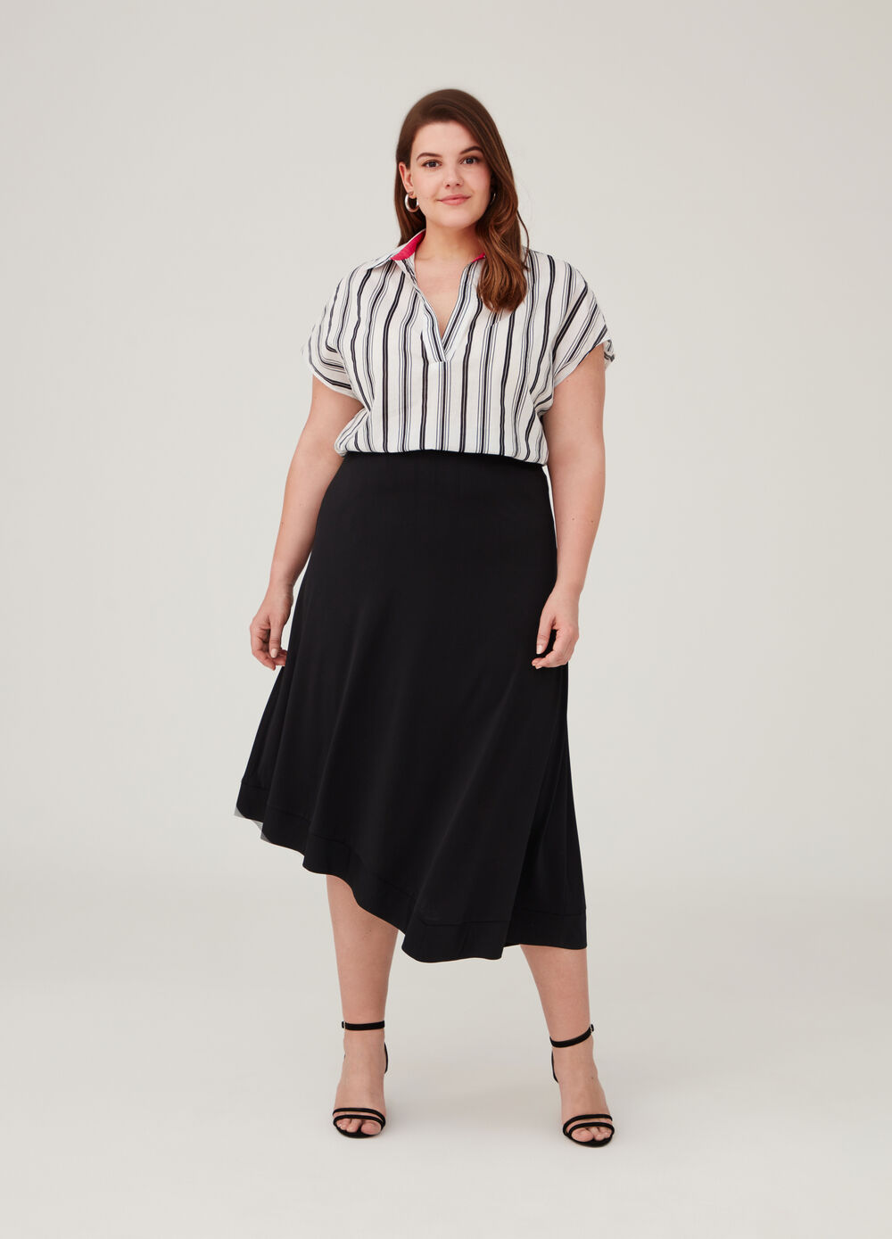 Curvy stretch skirt with high waist