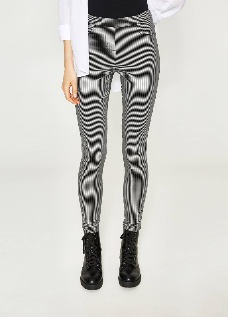 Stretch jeggings with striped pattern image number null