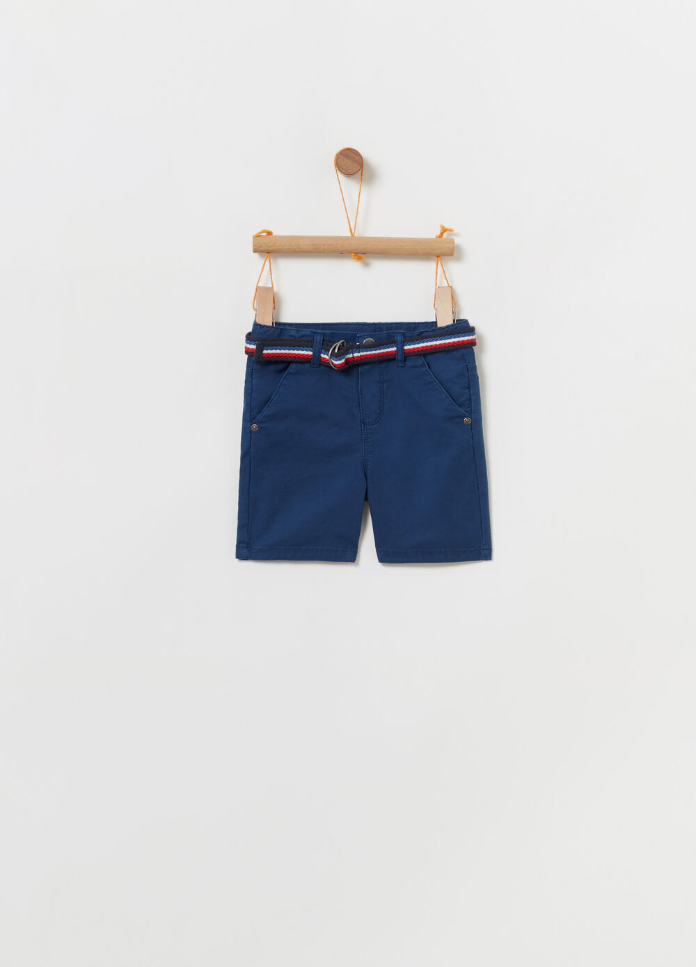 Stretch Bermuda shorts with striped belt