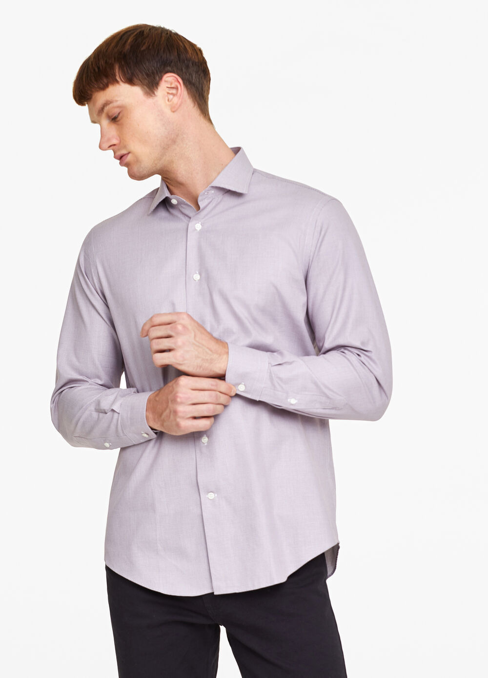 Regular-fit shirt with hounds' tooth pattern