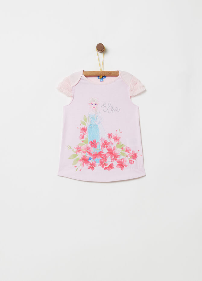 T-shirt maniche in tulle stampa Disney