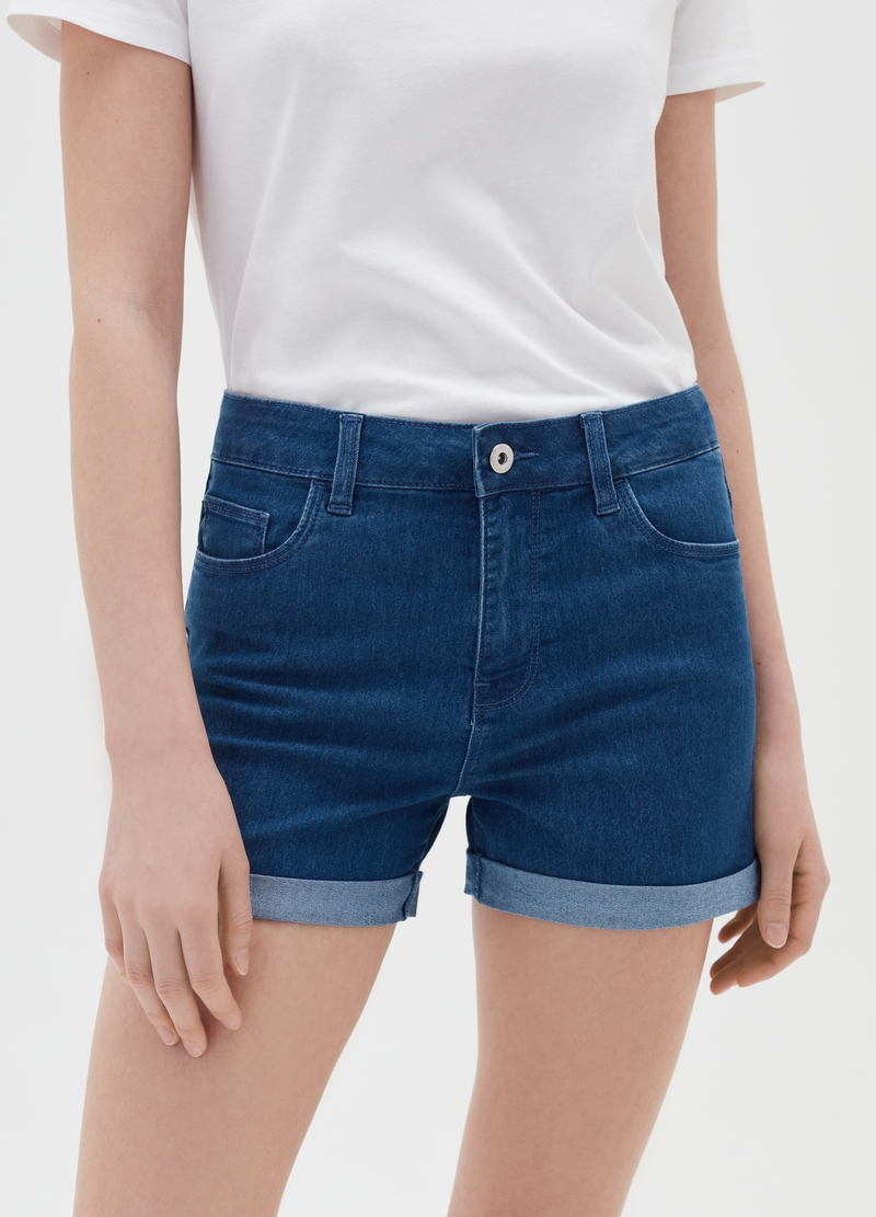 Shorts in denim con risvolto image number null
