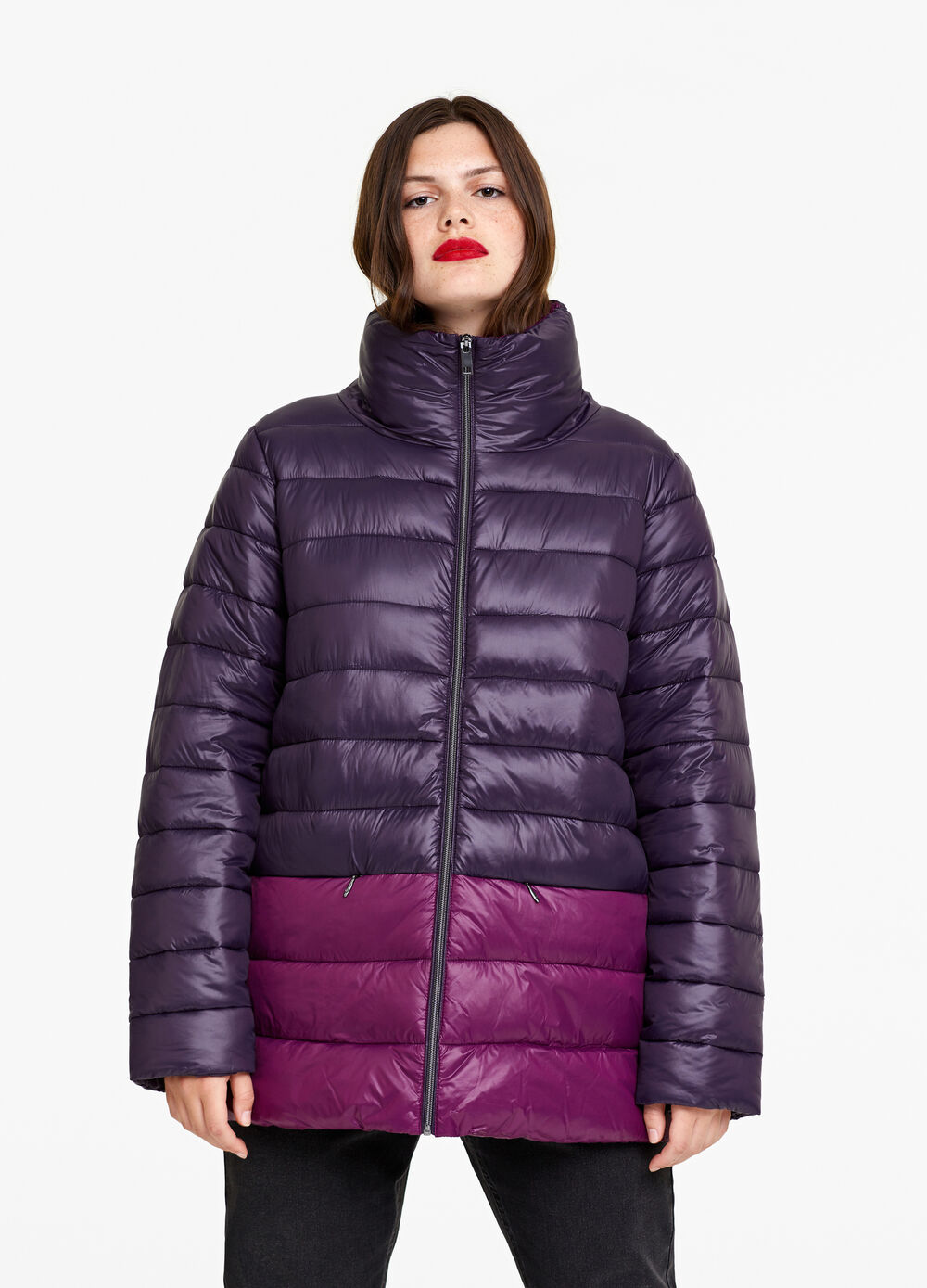 Curvy ultralight two-tone down jacket
