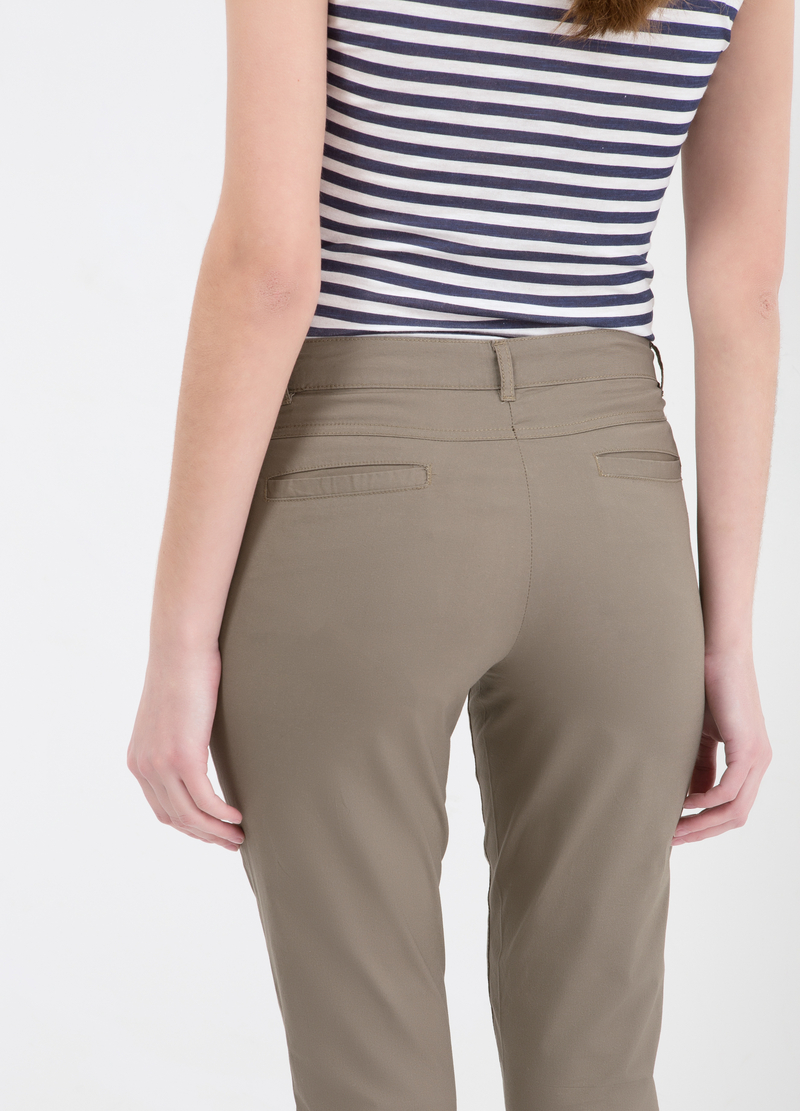 Stretch cotton crop pants image number null