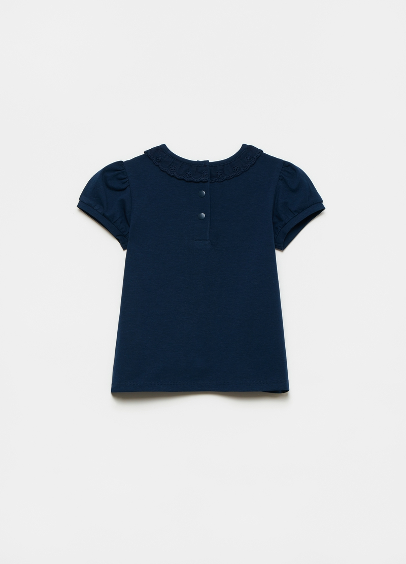 Stretch cotton broderie anglaise T-shirt image number null