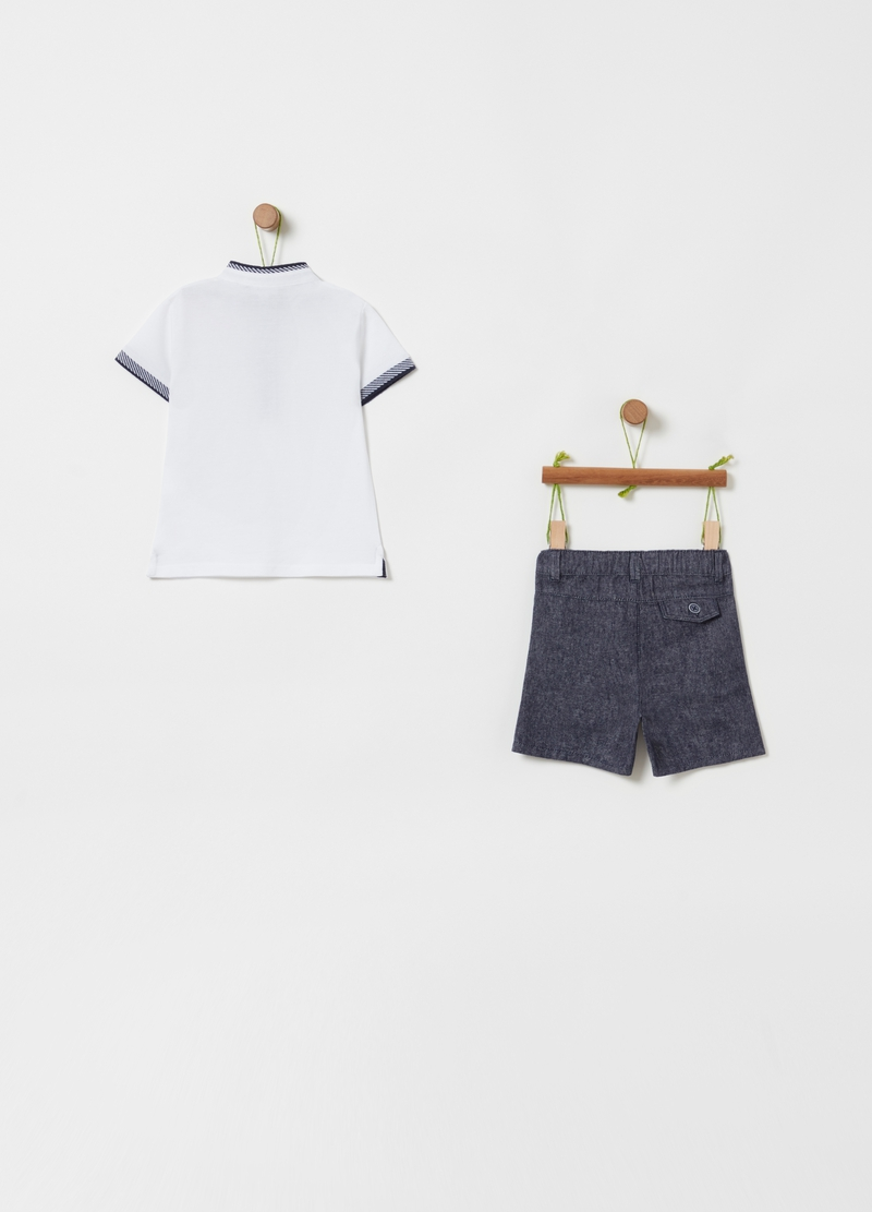 Polo shirt and shorts set with pockets image number null