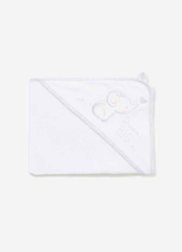 Cotton towel with pocket and patch