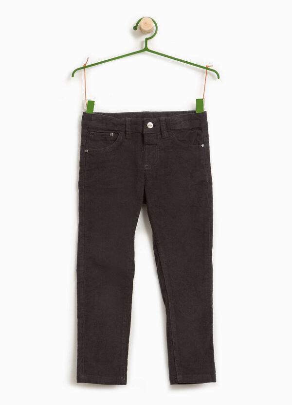 Cotton blend ribbed trousers