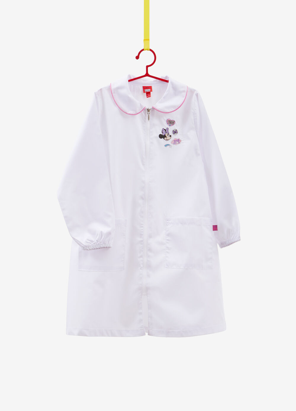 Solid colour apron with Minnie Mouse patch