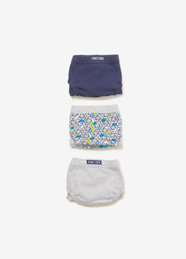 Three-pack 100% cotton solid colour and patterned briefs