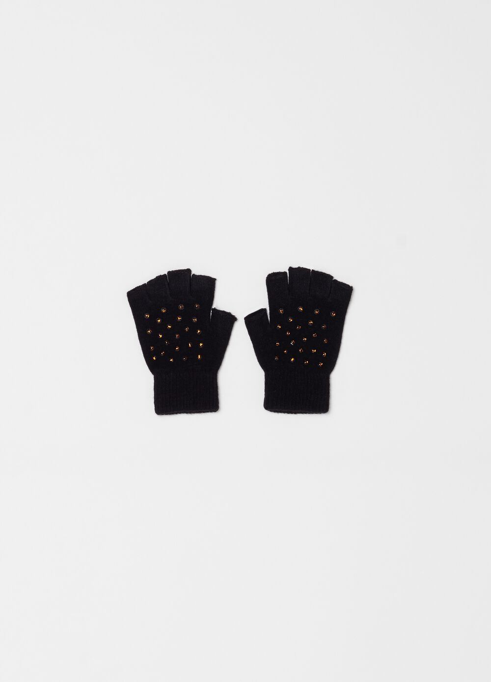 Fingerless gloves with small animal print studs