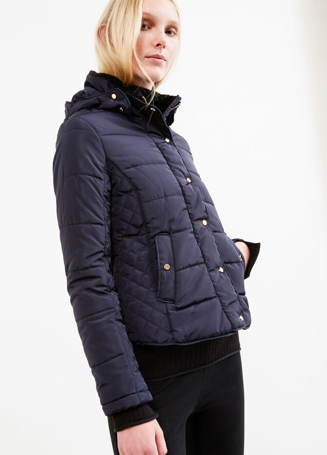 High neck down jacket with faux-fur lining
