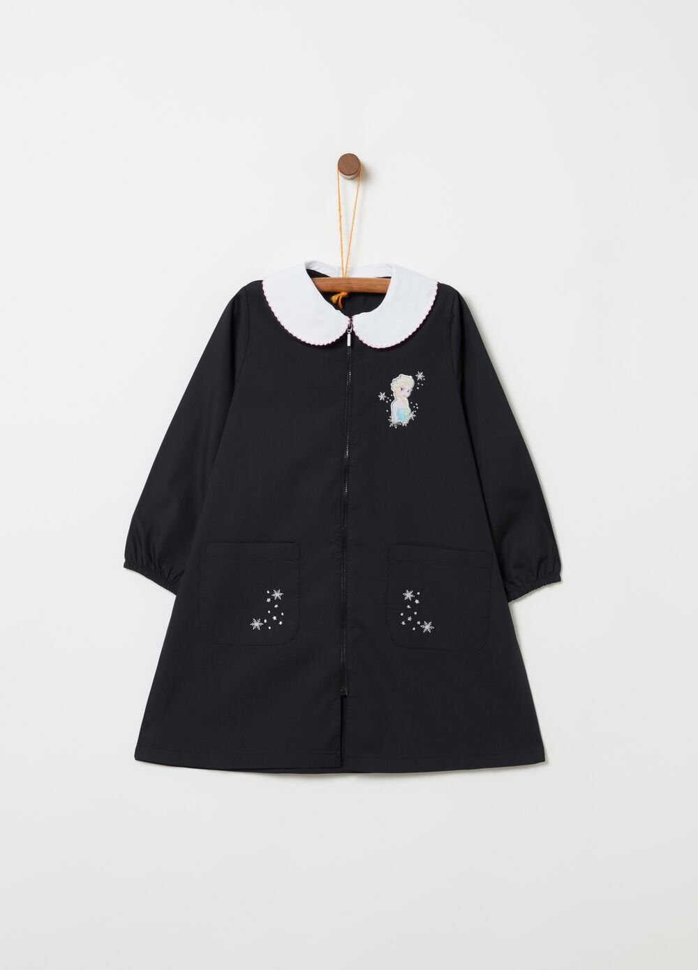 School smock with Frozen embroidery pockets and zip fastening
