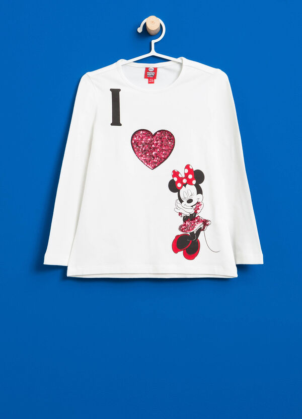 T-shirt cotone stretch Minnie e paillettes