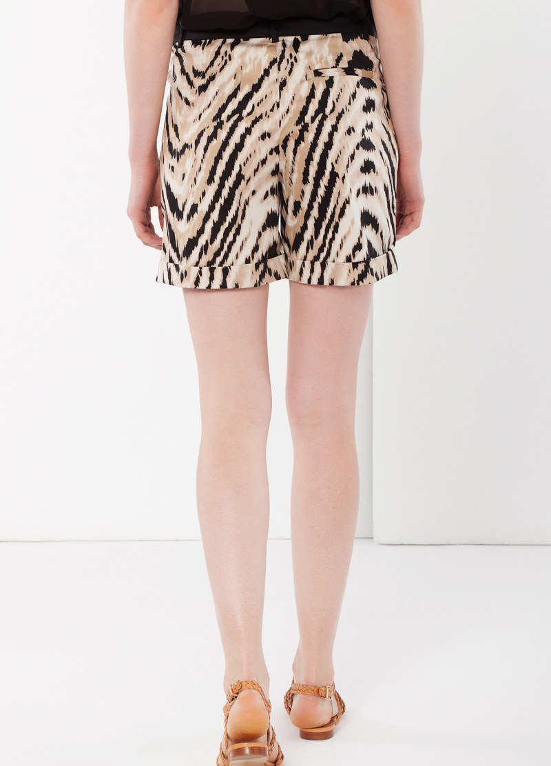 Animal print stretch shorts image number null