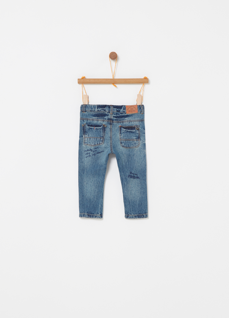 Vintage-effect jeans with five pockets image number null