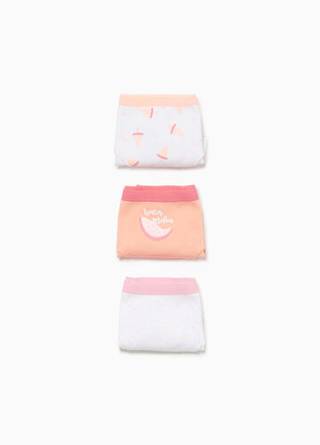 Three-pack cotton French knickers with seeds and watermelon