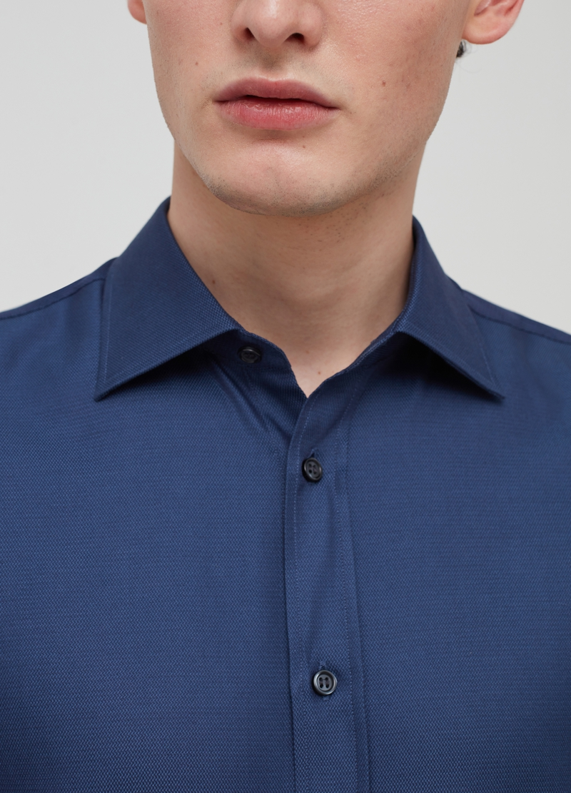 Solid colour regular-fit shirt in 100% cotton image number null