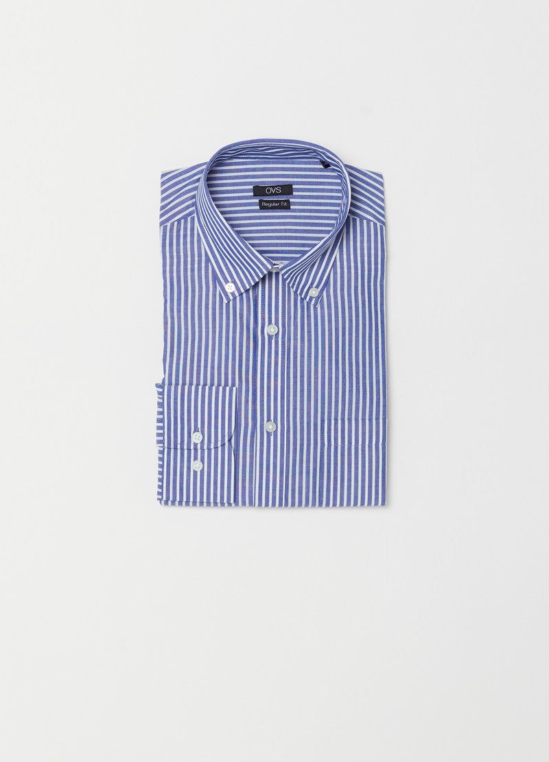Regular-fit shirt in striped poplin image number null