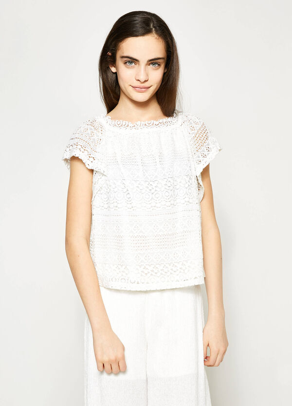 Teen lace T-shirt with cap sleeves | OVS