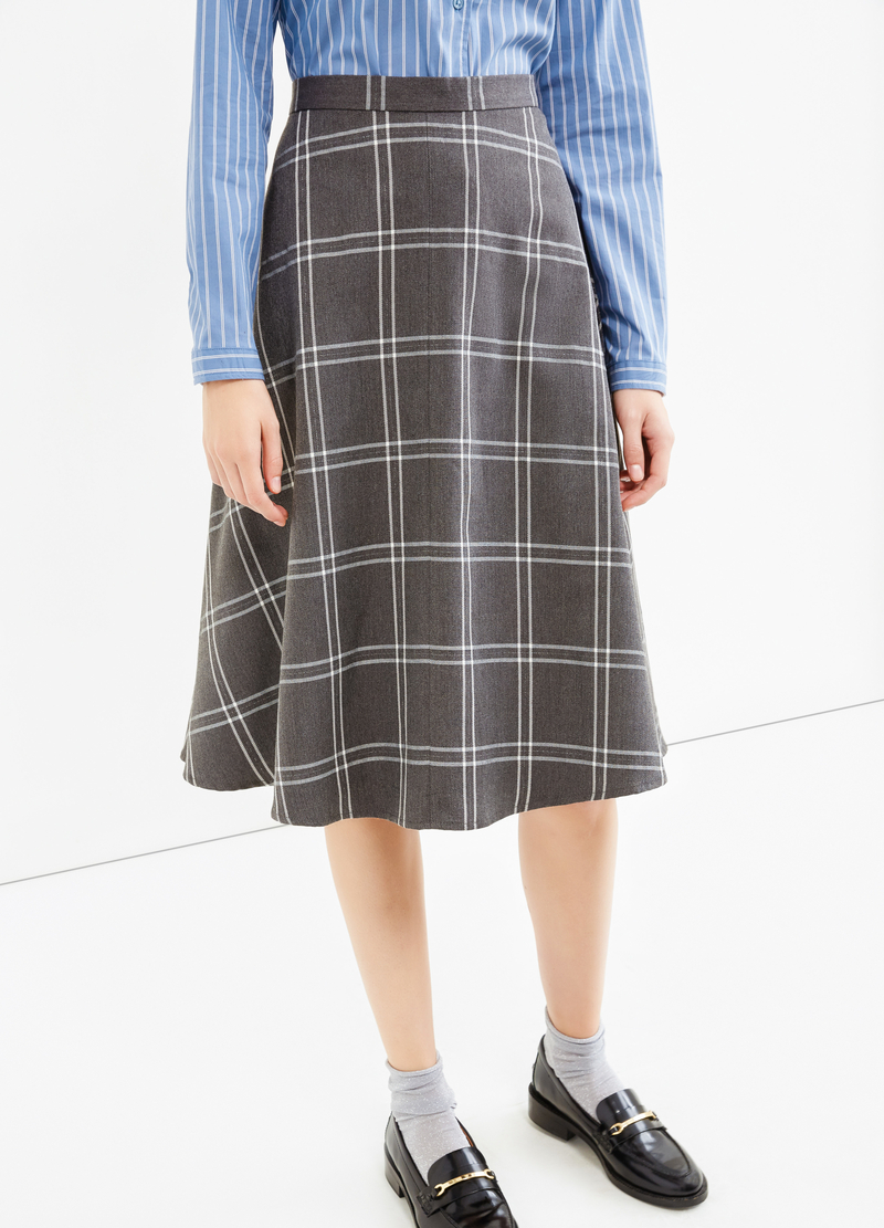 High-waisted longuette skirt with check pattern image number null