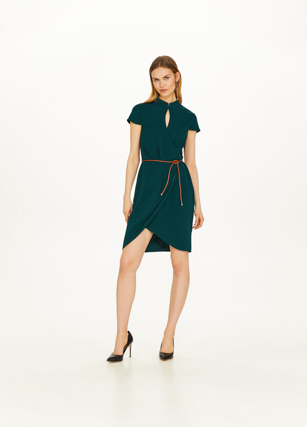 Solid colour crossover dress with high neck