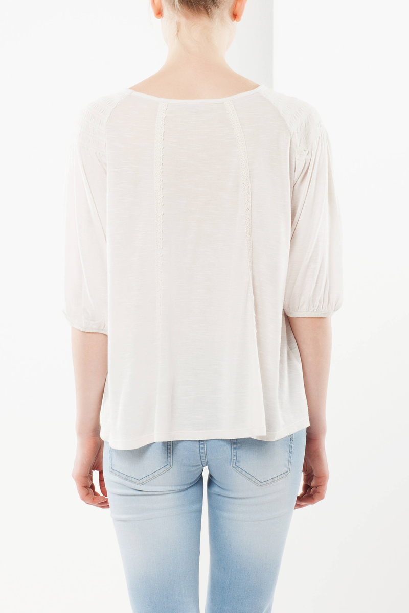 T-shirt with smocked neckline image number null