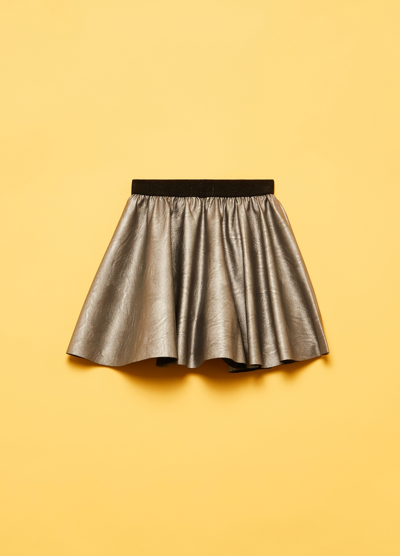 Leather-effect pleated miniskirt image number null