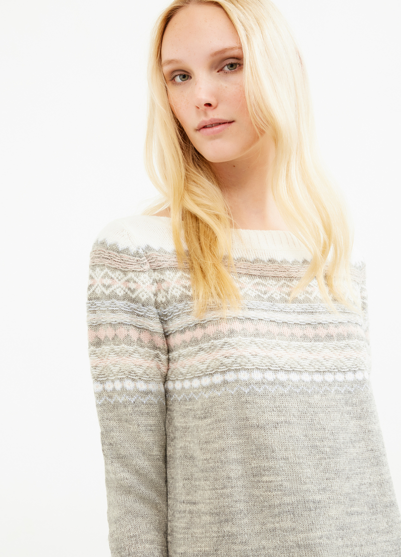 Wool blend pullover with embroidery image number null