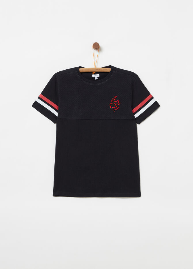 Jersey T-shirt in quilted fabric