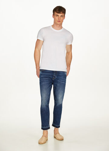 Jeans loose fit stretch con baffature