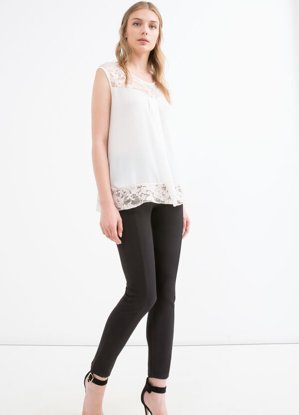 Stretch top with lace inserts