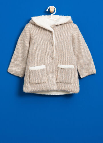 Knitted wool jacket with faux fur