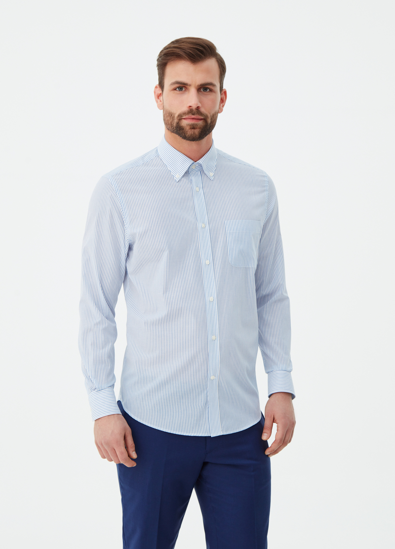 Regular-fit shirt with button-down collar image number null