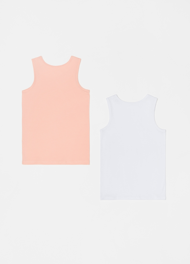 Two-pack vests in 100% cotton with wide straps image number null