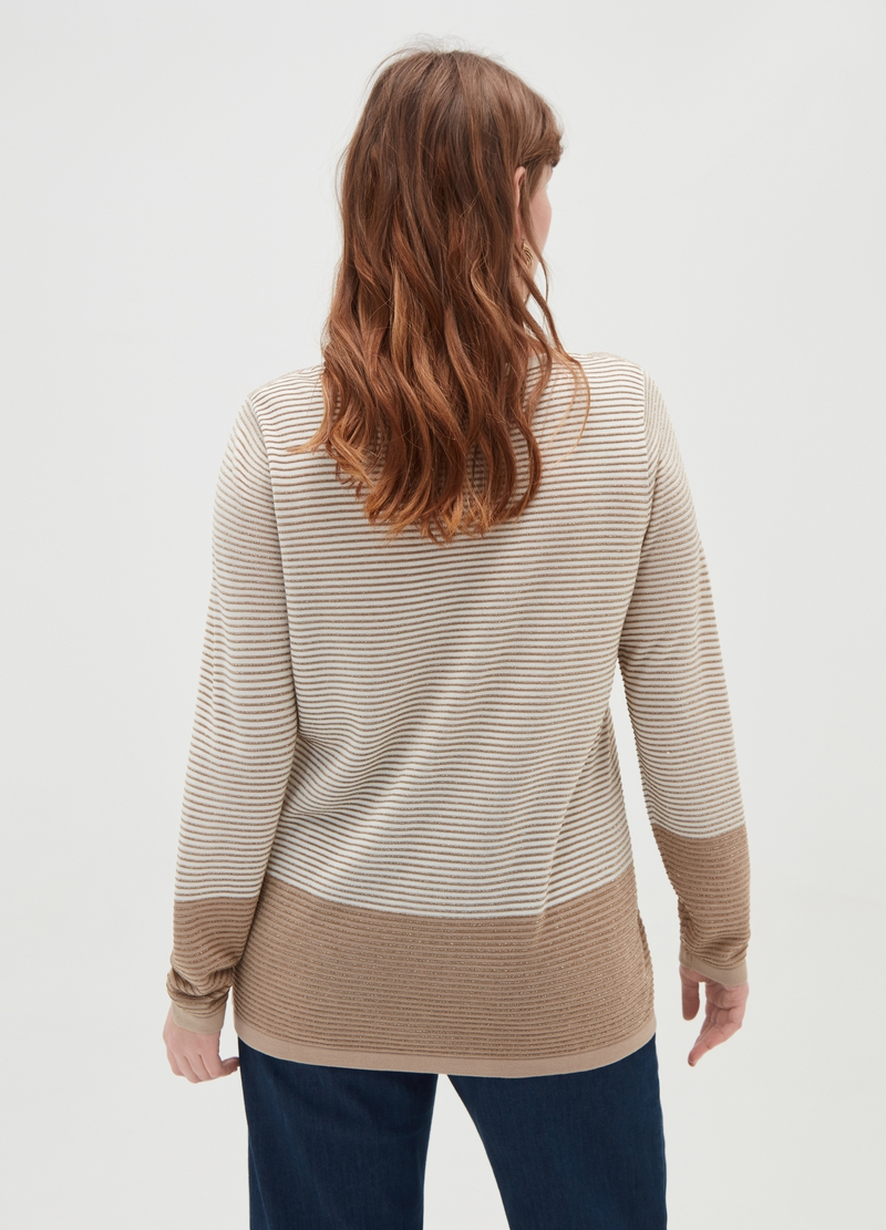 Curvy striped pullover with lurex image number null