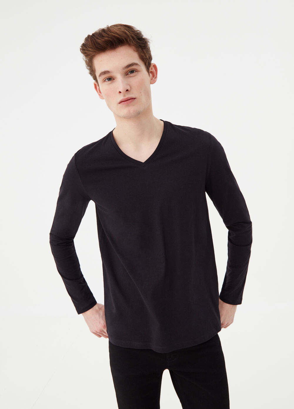 T-shirt manica lunga in cotone jersey