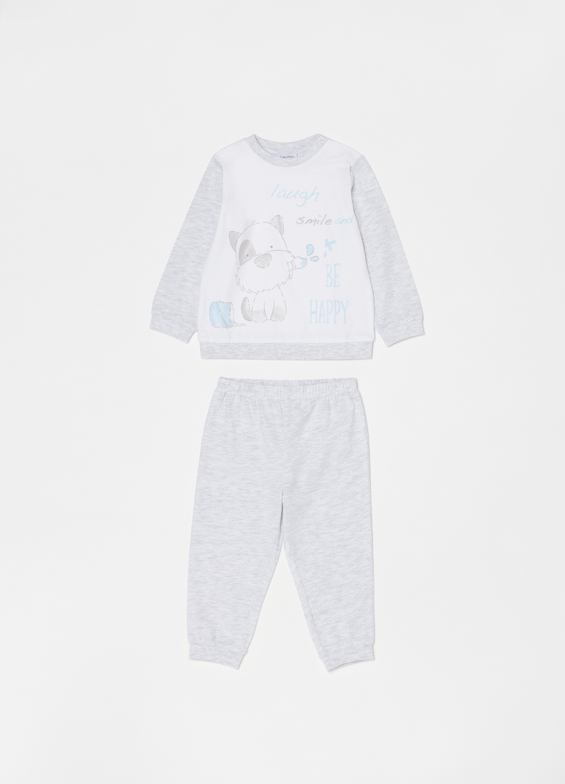 Long pyjamas in organic cotton with puppy image number null